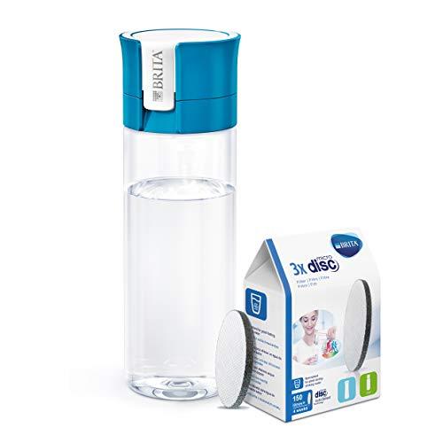 BRITA Fill&Go - Botella de agua de 0,6 l con filtro MICRODISC, color rosa + BRITA MicroDisc - Cartuchos de filtro para botella de agua 150 l