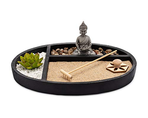 ASANALIVING Desktop Zen Sand Garden with Concrete Base, Meditating Buddha Statue, Bamboo Rake, Stamp and Faux Lotus Plant