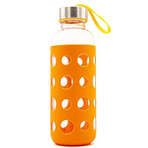 Zenhica Botella Cristal con Funda de Silicona y tapón de Acero Inoxidable. Capacidad 400 ml. Cantimplora de Agua.