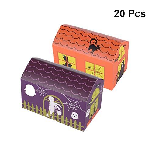 Toyvian Halloween Geschenkboxen Papier Nougat Kekse Süßigkeiten Geschenkboxen Partyartikel 20 Stück (orange + lila)