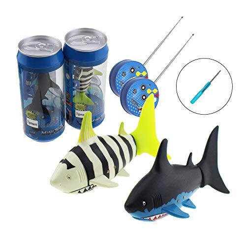 2 Pack Tipmant Mini RC Fish Shark Radio Remote Control Boat Ship & Submarines Swim in Water Pool Kids Electric Toy (2 Fish + 1 Screwdriver)