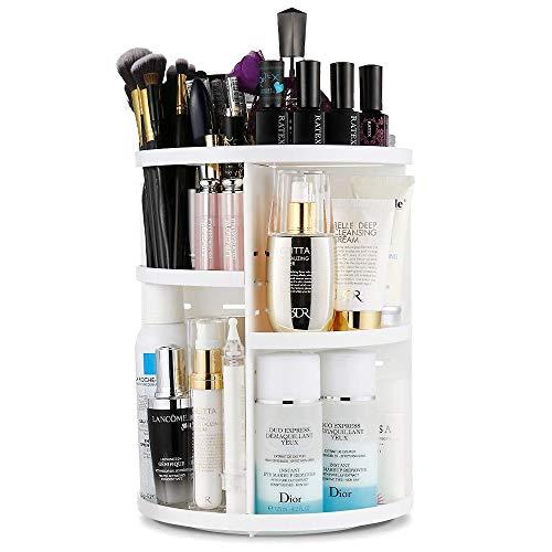 Artbisons Organizzatore di Trucco, Stoccaggio Cosmetico Regolabile con Rotazione a 360 Gradi e Scatola di Esposizione per Cosmetici, Scatola Organizer Cosmetici con 7 Strati (Bianca)