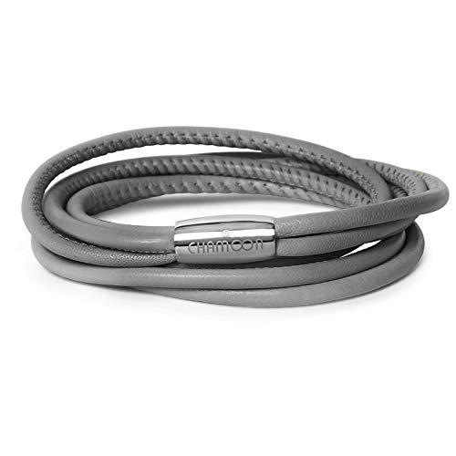 CHAMOON ® Premium Echtlederarmband für Damen in Grau | Länge 38,00 cm | Praktischer Magnetverschluss aus Edelstahl | Wickelarmband mit Charms erweiterbar