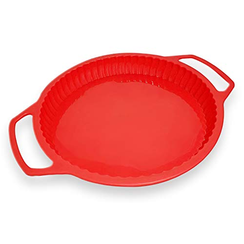 Pie Pan - 9 inch Pie Dish - Silicone Pie Plate - Easy To Release Quiche & Tart Pans