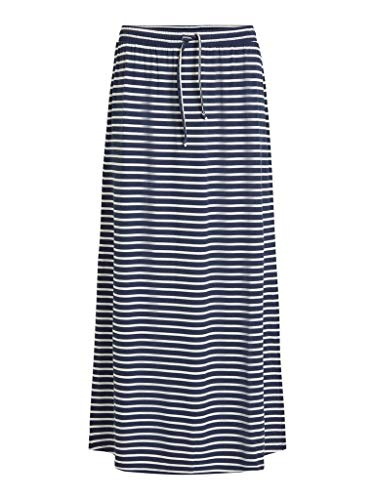 Vila Womens VIDELL Maxi NOOS Skirt, Stripes:Snow White Navy Blazer, XL
