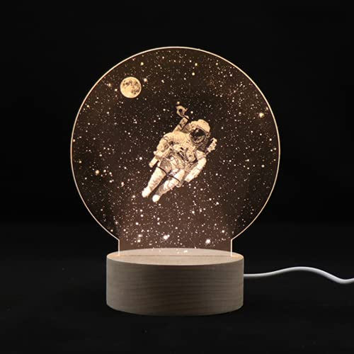 3D espejismo astronauta Lámpara de noche led niños Luz de noche Luz blanca cálida 3000K Acrílico de madera con alimentación USB Chicas jovenes Regalos Lámparas de mesa decoración Lámpara de noche