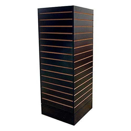 MH GLOBAL Revolving Slatwall Floor Display Rotating Cube Tower 4 Sided Retail Fixture - Black