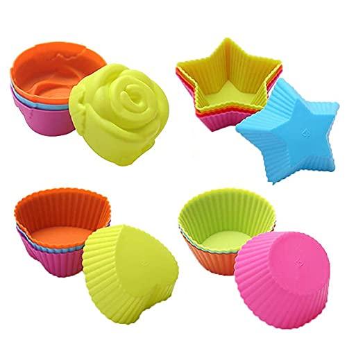 IWILCS Moldes de silicona para magdalenas, 24 unidades, reutilizables, respetuosos con el medio ambiente, moldes de silicona para magdalenas, postres, chocolate, pudding gelatina (6 colores)