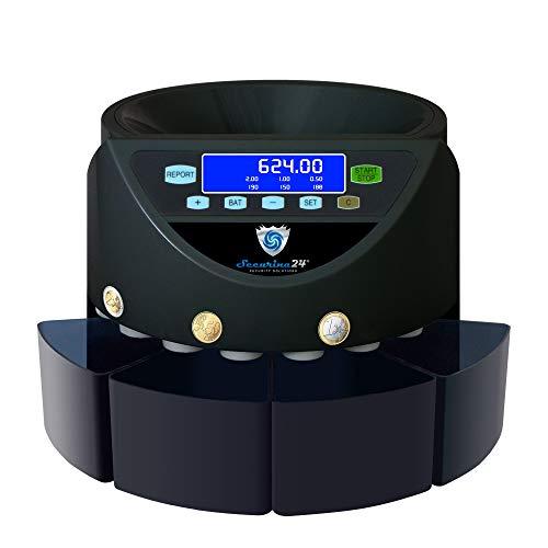 Münzzähler Münzzählmaschine Münzsortierer Geldzählmaschine Wertzähler SR1204 4 Boxer von Securina24® (schwarz - BBB)