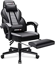 BOSSIN Racing Style Gaming Chair,400LBS Leather Computer Desk Chair with Footrest and Headrest, Ergonomic Heavy Duty Design, Large High-Back Gaming Chair, Big and Tall Gaming Chair (Light Gray)