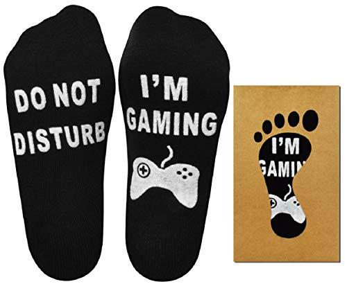 UMIPUBO Socken Do Not Disturb, I'm Gaming Witzige Geschenk Socken Baumwoll-Socken Lustige Socken Bestes Geschenk für Weihnachten Valentinstag Spieleliebhaber