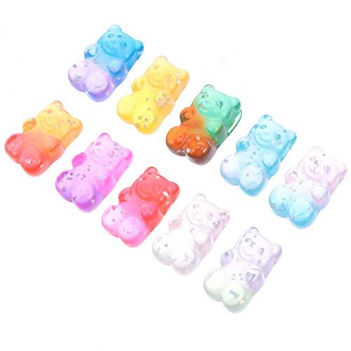 ifundom 50 Unids Colorido Oso de Goma Encantos del Caramelo Oso de Dibujos Animados Pendientes Llavero para La Fabricación de Joyas de Collar DIY