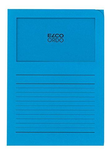 Elco Ordo Classico Papier-Organisationsmappen 220 x 310 mm 120 g/m² mit Aufdruck und Sichtfenster 180 x 100 mm Karton à 100 Stück leuchtend blau