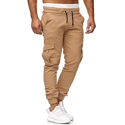 PinkLu Sweatpants Herren Slim Fit Jogginghosen Übergrößen für Männer Einfarbig Beiläufig Elastisch Gamaschen Sportfest Ausgebeult Taschen Hose