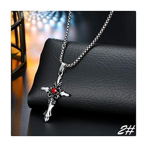 BGDRR Personalidad Collar de Rose Cruz de Plata del gótico esquelético Rojo Colgante de circón Collar de Las Mujeres de los Hombres de joyería (Color : 2)