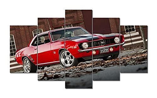 45Tdfc 5-teiliges Leinwandbild Chevrol Camaro 1969 Red Classic Car Print Canvas 200X100cm Kunstdruck Auf Leinwand Art Wand Gemälde Für Home Wohnzimmer Büro Trendig Eingerichtet Dekoration Geschenk
