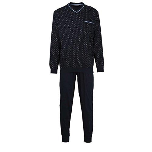 Götzburg Herren Nachtwäsche Zweiteiliger Schlafanzug, Pyjama lang, aus Baumwolle, Bedruckt, mit Bündchen, Bedruckt, mit Bündchen 54