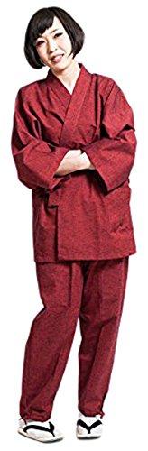 作務衣 さむえ レディース 日本製 通年 おしゃれ 久留米 女性 赤 綿 無地 藍紬 紬織 (L, エンジ)