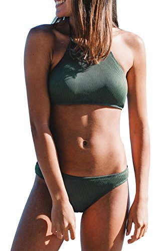 CUPSHE FASHION Women s Matcha Ice Cream Halter bikini Set Beach Swimwear Bathing Suit  M  Forest Green