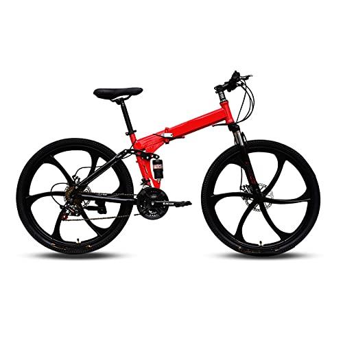 ZEMENG Bicicleta de montaña para Adultos, Bicicleta de Carretera Unisex de Velocidad Variable Plegable, 21 velocidades Dual Disc Freno Suspensión Completa Racing Bike MTB,Rojo,24'
