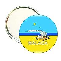 ROUND MIRROR MALAGA TOURISM-BEACH-GIRL SUNBATHING