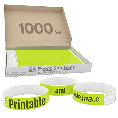 1000 Eintrittsbänder aus Tyvek zum selbst gestalten und bedrucken in Neon Gelb von GA Event Solutions - Party Einlassbänder, Festival Armbänder für dein Event