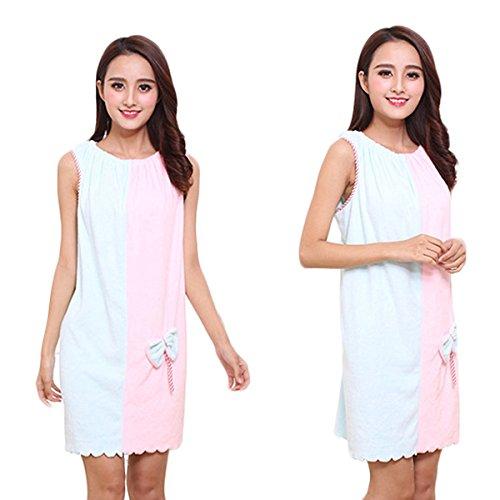 Bluelover Bx-969 Franela Suave Absorbente Faldas Salón Albornoz Mujeres SPA Toalla De Baño con El Pelo Seco Cap - Azul Y Rosado