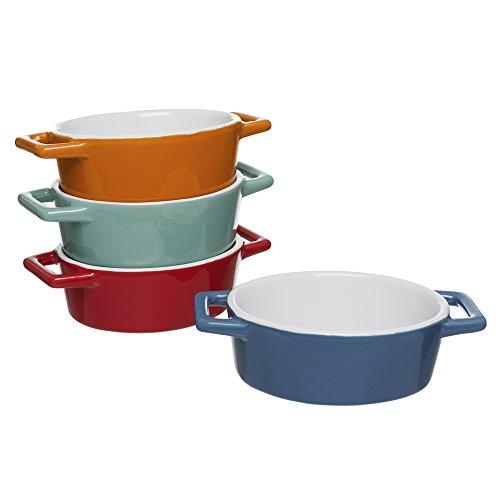 Invero® Mini-Auflaufformen, 4x Stück, aus Steingut, oval, bunt, ideal für Pasteten, Kuchen, Quiche, Aufläufe und mehr