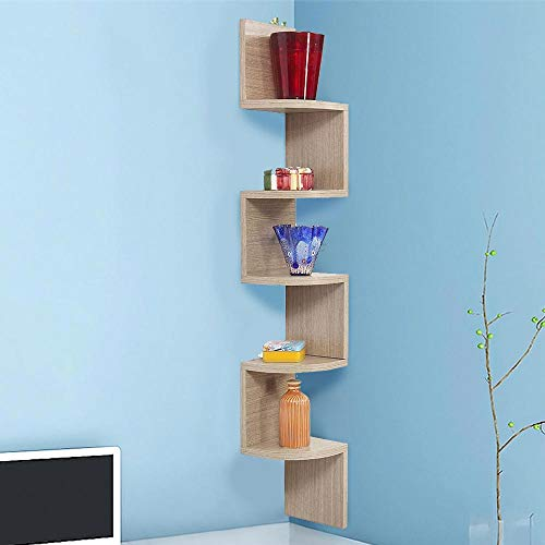 BAKAJI Libreria Scaffale Mensole da Parete Angolare Design Moderno in Legno Melaminico con 5 Ripiani ad Angolo Dimensioni 123 x 20 cm (Beige)