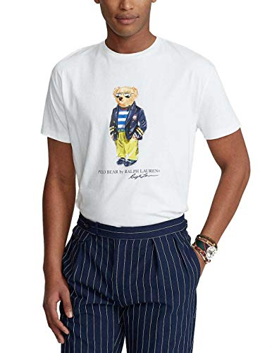 Polo Ralph Lauren T-Shirt da Uomo Polo Bear Racing (S, White)