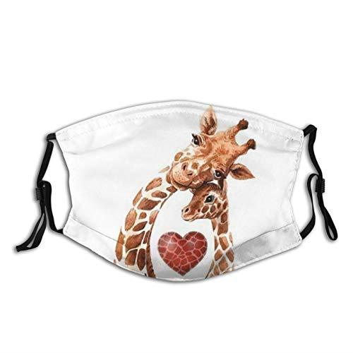 Giraffe Mom Heart Baby Giraffes GiraffeFace Mask Balaclava WashableampReusable With 2 Pcs Filters For Adult Women MenampTeens