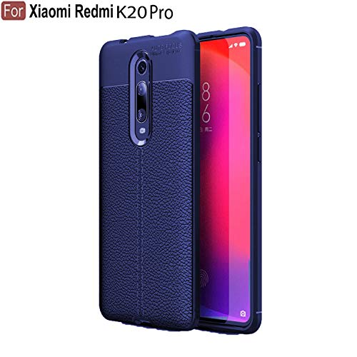 CEDO Silicon Soft Flexible Leather Textured Auto Focus Shock Proof Bumper Back Cover for Xiaomi Redmi K20 Pro (Blue)