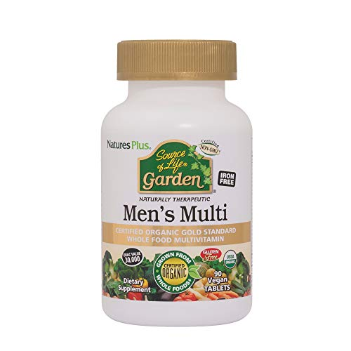 Nature's Plus Source of Life Garden Organic Men's Multi - Vegan Tablets - Whole Foods Multivitamin Supplement, Energy & Immune Support - Vegan, Gluten Free, Yeast Free (90)