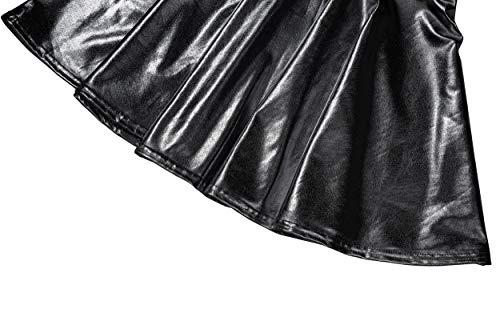 EXCHIC Mujer Falda Skater Acampanada Metálica Brillante (M, Negro)