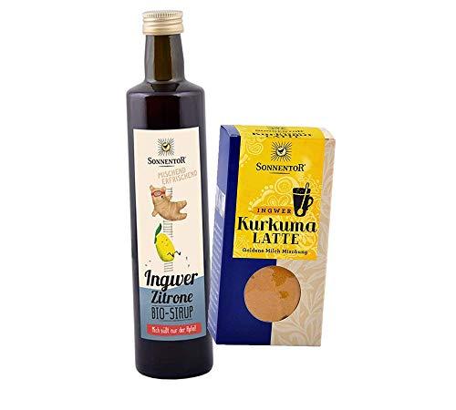 Bio Sonnentor Ingwer Set: Ingwer-Zitronen Sirup + Ingwer-Kurkuma Latte BIo-AT-301