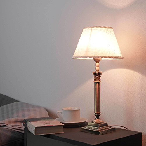 Designer Tischlampe Messing Jugendstil H:31cm Bronze hell Stoffschirm Tischleuchte Beistelltisch Schlafzimmer