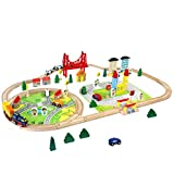 Train en Bois Jouet Circuit Voiture Enfant 82 Pcs Maquette Construction Rail Train Bois Jouet pour...