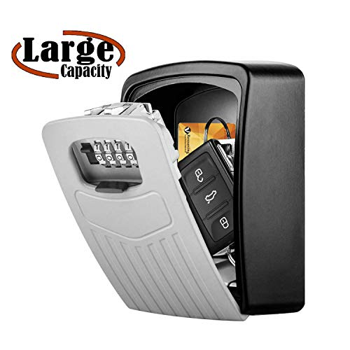 Extra Large Key Storage Security Lock,V-Resourcing Sturdy Wall Mounted Outdoor, Re-settable 4 Digit Combination Lock Box,Share and Secure Keys for Home,Office,Garage etc[Internal size:11.4x8.2x4.8cm]
