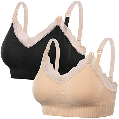 UMIPUBO Sujetador de Lactancia Sujetador de Maternidad de Encaje Sujetador sin Costuras Sujetador de Dormir con Cuello en V Sujetador de Maternidad sin Aros para Mujer(B, M)