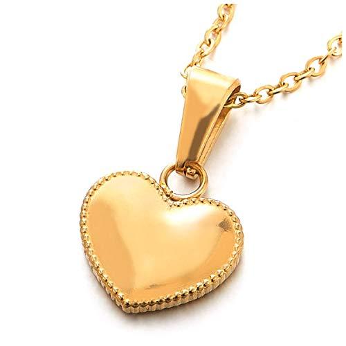 COOLSTEELANDBEYOND - Collar con Colgante de corazón pequeño de Acero Dorado para Mujer y niña, con línea de Puntos, Cadena de...