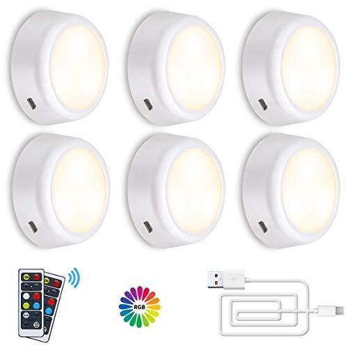 RGB Schrankleuchten, SOLMORE LED Nachtlicht Wiederaufladbare mit Fernbedienung, Schranklicht mit 5 Dimmstufen 3 Lichtmodi und Timing-Funktion für Schränke Küchen Flure, 6er