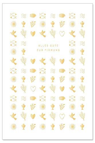 ARTEBENE Karte zur Firmung Firmungskarte Grußkarte Geschenkkarte Präge Kleine Symbole