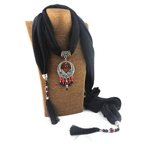 GOGNGTR Women's Scarf Necklace Alloy Pendant Cotton and Linen Accessory Bohemia Tassel Scarves(sc007) (Black)