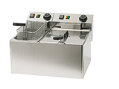 Professionele dubbele friteuse, roestvrij staal, 5 en 8 liter, 5100 W, thermostaat tot 190 °C; FE 74 E GGG