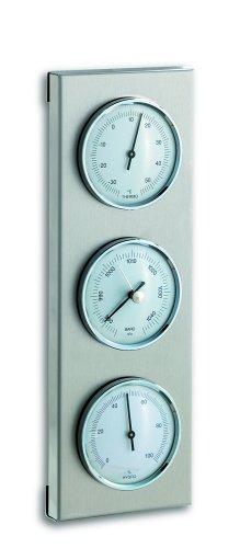 TFA Dostmann Analoge Außenwetterstation, aus Edelstahl, Barometer, Thermometer, Hygrometer, wetterfest