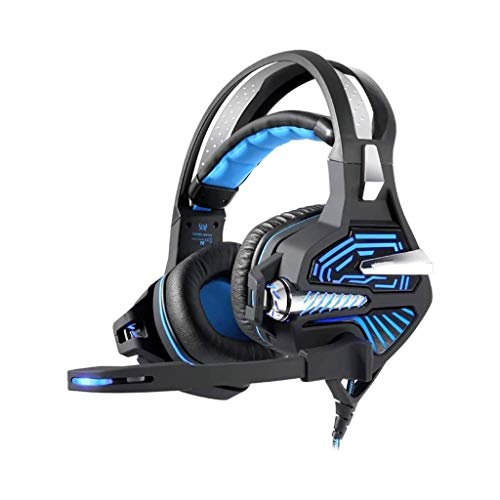 Casque de Jeu, avec Microphone, Vibration Casque Casque Ordinateur 7.1 canaux Casque Audio 3D Gaming (Color : Blue)