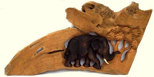 Profi Produkte Vertrieb Holzbild Elefant mit Baum Elefant Holz Teakholzrelief Wandbild geschnitzt ca. 40 cm