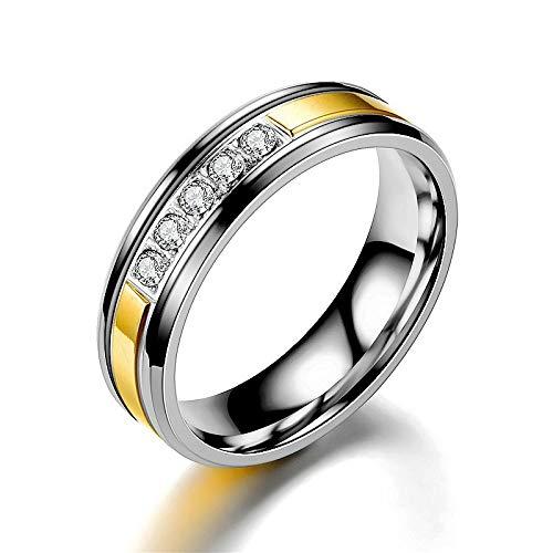 LINYIN Titanium Acero Diamante Pareja Anillo Moda Hombres y Mujeres Zircon Ring Ring joyería 9号 Golden