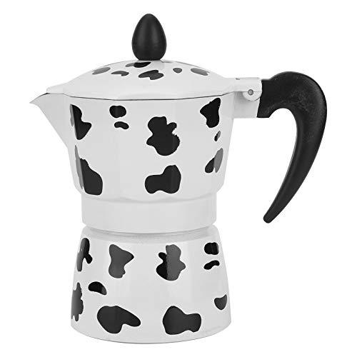 Tetera de aluminio Ladieshow Cafetera Cafetera Moka Olla para uso de cafetería en casa Color de leche de vaca(3 cups milk cow color 150ML)
