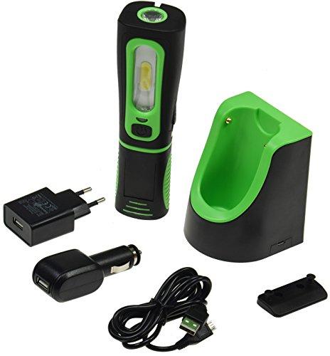 LED Stableuchte IP44 mit Akku & Ladestation Flexibel drehbar 2 Ladegeräte mit Ladeschale I Magnethalter